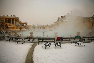 Széchenyi Baths in snow, Budapest