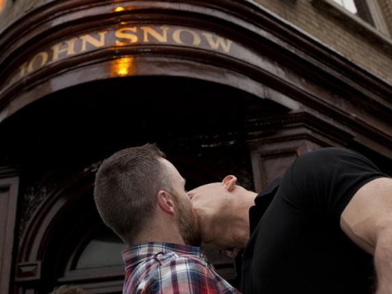 Soho gay kiss in