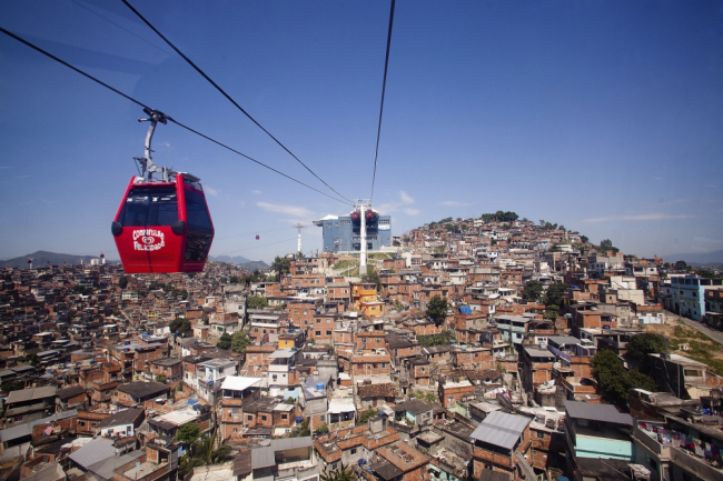 Favela cable car over Complexo do Alemão