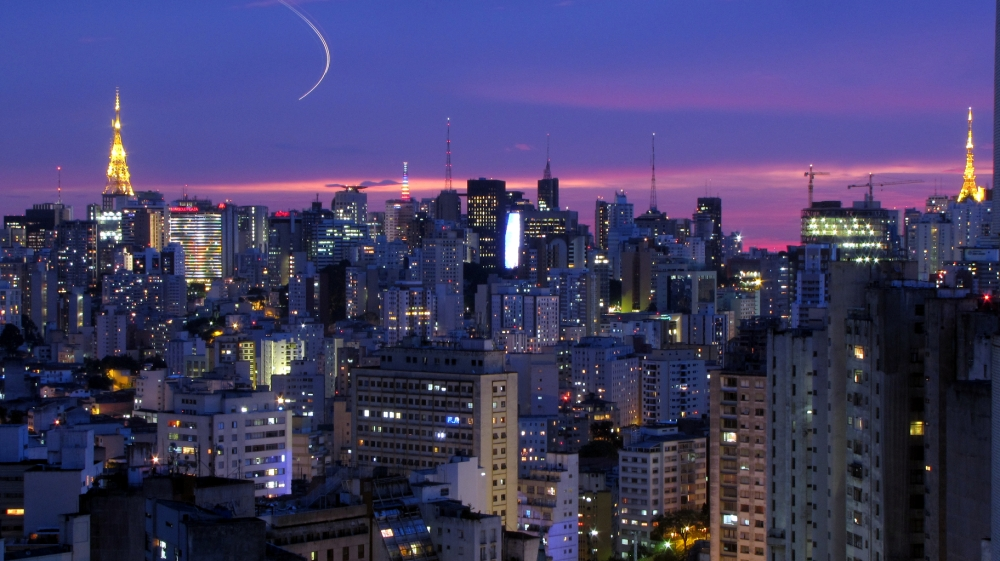 Sao Paulo city skyline at night