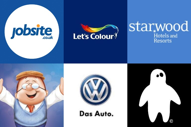 Brand logos - Jobsite, Let's Colour, Starwood Hotels, Tetley, Volkswagen, Yettio