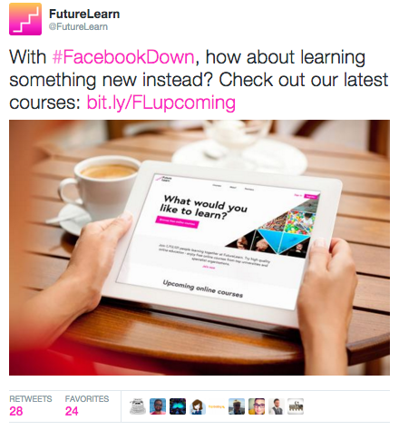Facebook down: FutureLearn tweet