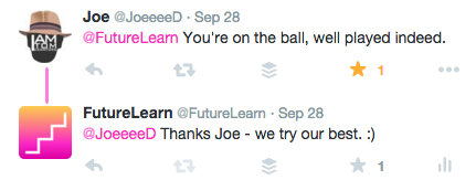 Positive feedback for FutureLearn on Twitter